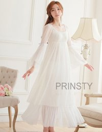 Wholesale-Free Shipping 100% Cotton Princess Nightdress Women s Long  Nightgowns White Lace Sleepwear PR15020 46b79b327