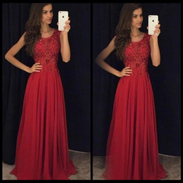 $enCountryForm.capitalKeyWord Canada - Simple Red Prom Dresses Jewel Neck Cap Sleeves Lace Appliqued Chiffon Custom Made Back Zipper Corset Evening Gowns Formal Dresses