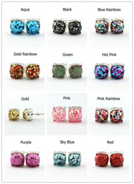 Wholesale Christmas Gift Kate Style Galaxy Glitter Stud Earrings for Women Fashion Rainbow New York Silver Plating Glitter Square Studs Earrings