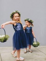 Cheap Tutus For Girls NZ - 2016 Cheap Lovely Navy Blue Sequins Tulle Flower Girls Dresses for Weddings Knee Length Tutu Communion Dresses for Girls