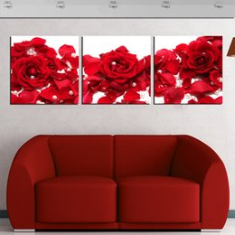 $enCountryForm.capitalKeyWord NZ - Unframed 3 Pieces art picture Home decoration free shipping Canvas Prints Red rose Pearl petal abstract potted flower Cartoon piano keys