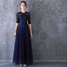 Half Size Special Occasion Dresses Canada - In Stock O-Neck Chiffon And Lace Royal Blue Party Dresses A-Line And Half Sleeve Elegant Plus Size Evening Gowns 0119A