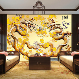 golden living room decor Canada - Custom 3D Golden Dragon Photo wallpaper Luxury Wallpaper Wall Murals Bedroom Living room Sofa TV backdrop wall Room decor Wood carving art