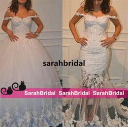 Detachable Off Shoulder Lace Gown Canada - Hot Two Pieces Detachable Train Beach Mermaid Wedding Dresses Middle East Dubai Arabic Off-shoulder Lace Tulle Bridal Gown 2 in 1 Sale