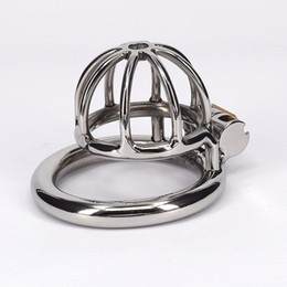Discount chastity devices for small penis - Stainless Steel Male Chastity Belt Penis Ring Bondage Toys Metal Small Cock Devices For Men Gay Adult Sex Product