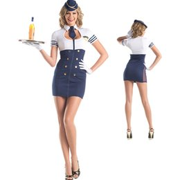 Barato Marinheiro Marinheiro Mulher Vestidos-2017 New Arrival Halloween Costume para mulher Blue Navy Sailor Cosplay Stewardess Uniformes Dress Stage Performance Clothing QZ014