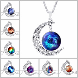 image alloys NZ - Image jewelry wholesale silver necklace Moon Art fashion statement necklaces Vintage glass necklace pendants and Christmas gift
