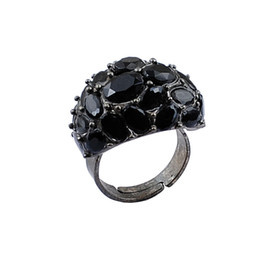 Discount gypsy cluster ring - Black Plated Zinc Alloy Rings Fashion Ladies Resin Ring Free Shipping