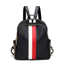 $enCountryForm.capitalKeyWord NZ - Women Backpack Fashion School Bags Luxury Strap Striped Famous Brand Zipper Backpacks Shoulder Soft Travel Lady Backpack 26x30x14cm