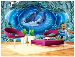 Vintage Woven Wallpaper Canada - 3d wallpaper custom photo non-woven mural Whirlpool dolphins underwater world decoration painting picture 3d wall room murals wallpaper