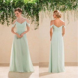 Robe À La Menthe Verte Pleine Longueur Pas Cher-Jasmine 2016 Cheap Mint Green Long Off the Shoulder Robes de demoiselle d'honneur Full Length Beach Chiffon Robes de demoiselle d'honneur Formal Prom Party Gowns