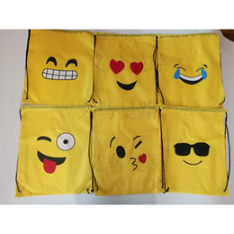 shop for beds 2019 - Emoji Bundle Pocket Yellow Smiling Face Printing Terylene Storage Drawstring Bag For Woman Outdoor Shopping Waterproof 3