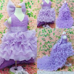 $enCountryForm.capitalKeyWord Canada - Purple High Low Flower Girl Dresses For Weddings Ruffles Layered Big Bow Jewel First Communion Dress Kids Formal Wear Girls Pageant Dress