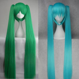 Clip Charms Free Shipping Australia - free shipping charming beautiful new Hot sell Best Super Long Vocaloid Hatsune Miku Cosplay Hair Wig + 2 Clip On Ponytail