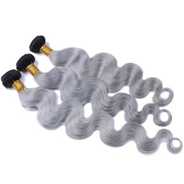 dyed hair bundles UK - Ombre Silver Grey Human Hair Extensions Two Tone 1B Grey Dark Root Ombre Peruvian Body Wave Wavy Hair Weave 3 Bundles Lot
