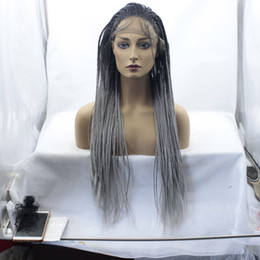 grey braiding hair 2019 - MHAZEL Black Ombre Grey Long 26inch Braid Straight Lace Front Wigs Baby Hair Heat Resistant Fiber cheap grey braiding ha