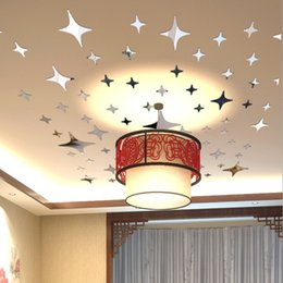 Wall Sticks Tile Canada - 43pcs Stars Sky Mirror Sticker Wall Ceiling Room Decal Decor Art Mural DIY
