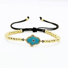 alloy hamsa hand 2019 - High Quality 4mm Copper Beads with Blue Turquoise Stone Hamsa Fatima Hand Cz Charm Macrame Bracelets cheap alloy hamsa h
