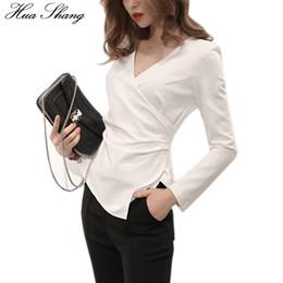 $enCountryForm.capitalKeyWord Canada - Korean Fashion 2017 Women Autumn Long Sleeve White Blouse Elegant V Neck Cross Fold Slim OL Shirt Ladies Work Wear Office Shirts