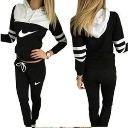 women casual sports hooded Sweatshirts + pants 2PC, wholesale and retail clothing female runners, hit color suit woman Sweatshirts Tracksuit