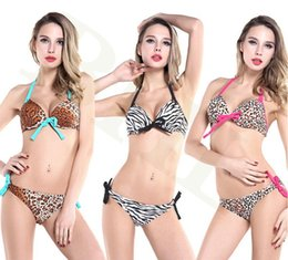 Barato Biquíni Leopardo Sutiã-AAA Fashion Women Sexy Leopard Bikini Triangle Bra Bikini Mulheres Hot Zebra Swimsuit Ladies Swimwear Set