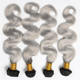 $enCountryForm.capitalKeyWord Canada - Hot 4Pcs Silver Grey Ombre Hair Extensions #1B Grey Body Wave 9A Malaysian Virgin Human Hair Weaves Ombre Hair Bundles For Woman