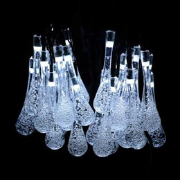 20x LEDs IP44 Solar Powered String Lights Fashiion Crystal Water Drop Led  Lamp For Christmas Wedding Party Garden Art Decor Solar Garden Art On Sale