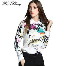 $enCountryForm.capitalKeyWord Canada - Huashang Women Summer Tops Long Sleeve Vintage Floral Birds Print Chiffon Shirt Korean Ladies Office Shirts White Blusas