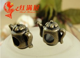 teapot charms Canada - A3152 14*13*12MM Antique Bronze zinc alloy metal Teapot charms and pendants brass large hole beads retro jewelry accessories wholesale