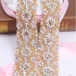 Barato Grossistas Vestidos De Noiva-Sashes Rhinestone Wedding Belt Vestido de casamento Belt Bridal Belt Glass Crystal Handmade Pears Shinny Evening Wholesale