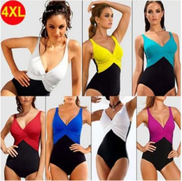 slimming bathing suit styles Canada - 2016 plus size swimwear M-4XL one piece assorted solid color slim bodyl bathing suits swimming suits plus size swimsuits European style
