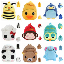 Barato Presentes Do Saco De Escola Do Aniversário-Kids Animal Plush School Backpack Cartoon Cute Elephant Bee Monkey Panda Penguin Owl Rilakkuma School Bags Mochila para o presente da festa de aniversário