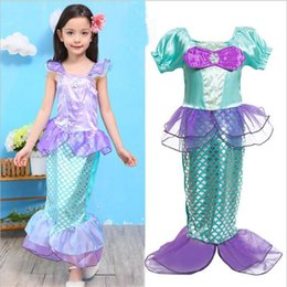 Pequeños Vestidos Princesa Sirena Baratos-Ropa de niña para niños Little Mermaid Fancy Niños Niñas Sirena Vestidos Princesa Ariel Cosplay Halloween Traje