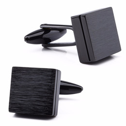 1 pair come with box retail trendy square brushed plain metal menu0027s cuff links jewelry wedding business dresses button cufflinks - Cufflink Box