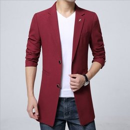 Vestes Pourpre Pour Hommes Pas Cher-Vente en gros- Plus Size Men's Fashion Casual Long Jackets Blazers Royal Blue Black Red Purple Blazer Hommes Single Breasted Slim Fit Blazer Homme