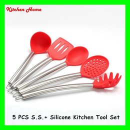 $enCountryForm.capitalKeyWord Canada - Retail 5pcs Silicone Cooking Tools Set with Stainless Steel Handle For Nonstick Pots Kitchen Utensils Set Silicone Spoon Skimmer Ladle