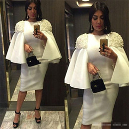 Robe De Genou Africaine Pas Cher-White Sheath Robes de bal avec perles Peals Longueur au genou Jewel African Evening Robes Zipper Vestidos Straight Women Party Gowns Cheap