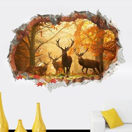 wall stickers home decor window view 2020 - Free Shipping 3D elk Deer Playground Broken Wall Hole Window View Home Decals Wall Stickers for Room Home Decor Mural