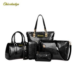 China Wholesale- 6 PCS Set Women Handbag Crocodile Pattern Composite Bag Stone Women Messenger Bags Shoulder bag Purse Wallet PU Leather Handbags cheap crocodile fashion wallet suppliers