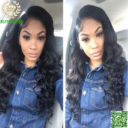 Human Hair Wig Body Bang Canada - Malaysian Human Hair Body Wave Full Lace Wig Wavy Hair Glueless Lace Front Human Hair Wig With Side Bangs