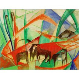 Marc Painting Australia - Franz Marc artwork Reproduction Landscape with black horses oil painting canvas High quality Handmade Wall decor