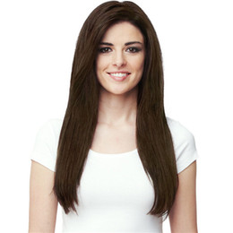 Chinese  Cheap Long Kinky Straight Hair Wig Full Side Bang Dark Brown Synthetic Wigs 100g Europe Fashion Wig manufacturers