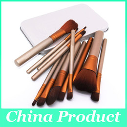 Wholesale Cosmetic Makeup Brushes Canada - 12pcs Top Grade Professional Bamboo Handle Makeup Brushes Set Facial Cosmetics Powder Foundation Blusher Cosmetic Brushes With Box
