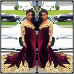 Discount velvet african fashion dresses African Velvet Mermaid Evening Dresses Deep V Neck With Gold Lace Appliques Plus Size Prom Dress African Vestidos Mermai