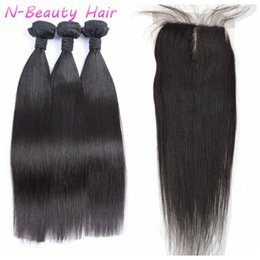 Chinese Knots Wholesale Canada - Brazilian Straight Hair Weft 3 Bundles And 1pc Top Silk Base Closure Bleached Knots Free Part DHL FREE LaurieJ Hair
