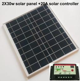 Solar Powered Laptops Canada - 2 pcs lot 30W 12V monocrystalline Solar Panel + 20A solar controller,100% full capacity Class A for Solar power system