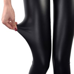 Cuir De Nylon Sexy Pas Cher-Leggings en simili cuir bleu marine Leggins femme sexy Leggings noirs minces Calzas Leggins Mujer Leggings Leggins extensible Push Up