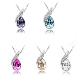alexandrite chain UK - Fashion women's Austrian crystal necklace women's short section of gold ornaments floating pendant YP096 Arts and Crafts pendant with chain