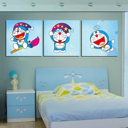 $enCountryForm.capitalKeyWord NZ - Unframed Home decoration 3 Pieces art picture free shipping Canvas Prints Doraemon Animation Lotus leaf horse peony peacock