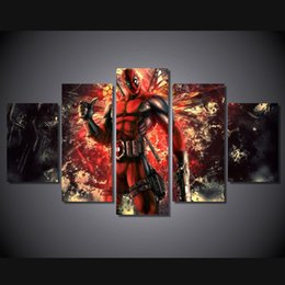 $enCountryForm.capitalKeyWord Australia - 5 Pcs Set Framed Printed deadpool comic Painting on canvas room decoration print poster picture canvas Free shipping ny-2827